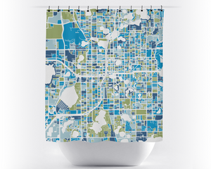 Orlando Map Shower Curtain - usa Shower Curtain - Chroma Series