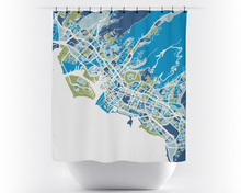Honolulu Map Shower Curtain - usa Shower Curtain - Chroma Series