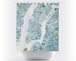 New York Map Shower Curtain - Vivid Red & Blue Colors
