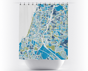 Tel Aviv Map Shower Curtain - israel Shower Curtain - Chroma Series