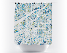 Osaka Map Shower Curtain - japan Shower Curtain - Chroma Series