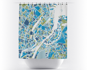 Copenhagen Map Shower Curtain - denmark Shower Curtain - Chroma Series