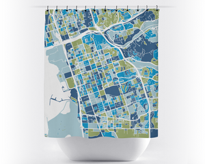 Chula Vista Map Shower Curtain - usa Shower Curtain - Chroma Series