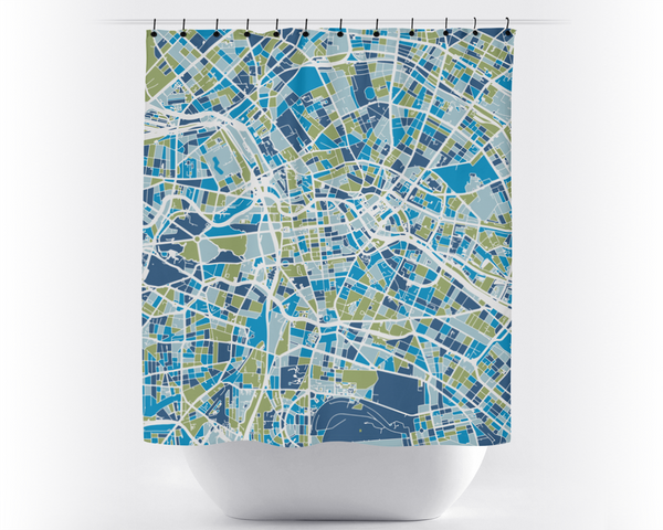 Berlin Map Shower Curtain - germany Shower Curtain - Chroma Series