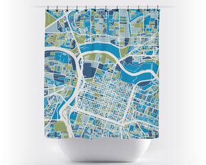 Sacramento Map Shower Curtain - usa Shower Curtain - Chroma Series