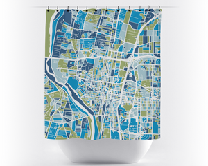 Albuquerque Map Shower Curtain - usa Shower Curtain - Chroma Series