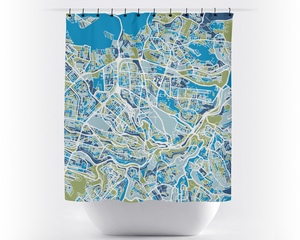 Amman Map Shower Curtain - jordan Shower Curtain - Chroma Series