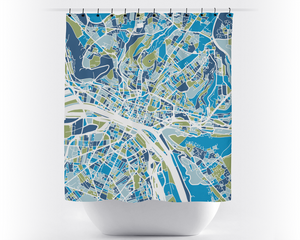 Rouen Map Shower Curtain - france Shower Curtain - Chroma Series
