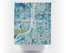 Grand Rapids Map Shower Curtain - usa Shower Curtain - Chroma Series