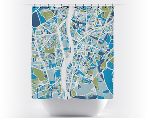 Cairo Map Shower Curtain - egypt Shower Curtain - Chroma Series