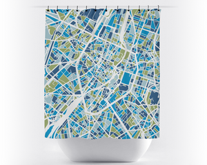 Brussels Map Shower Curtain - belgium Shower Curtain - Chroma Series