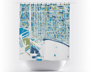 Long Beach Map Shower Curtain - usa Shower Curtain - Chroma Series