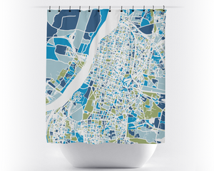 Kolkata Map Shower Curtain - india Shower Curtain - Chroma Series
