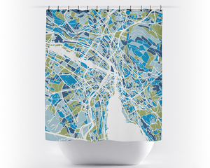 Zurich Map Shower Curtain - switzerland Shower Curtain - Chroma Series