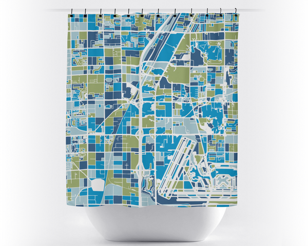 Las Vegas Map Shower Curtain - usa Shower Curtain - Chroma Series