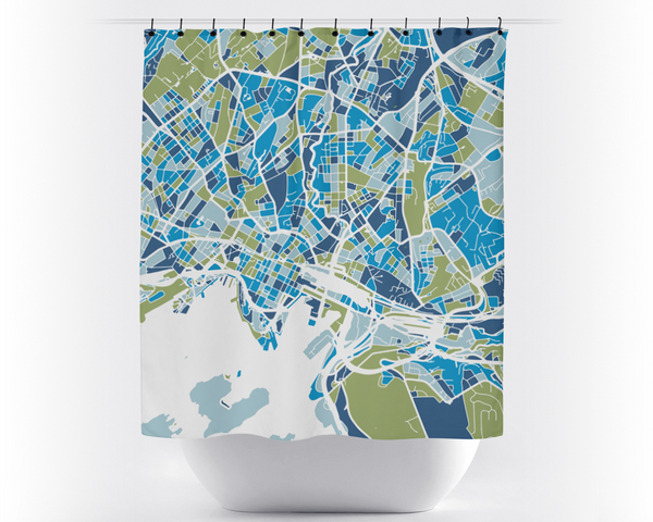 Oslo Map Shower Curtain - norway Shower Curtain - Chroma Series