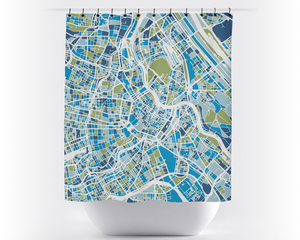 Vienna Map Shower Curtain - austria Shower Curtain - Chroma Series