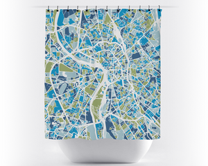 Toulouse Map Shower Curtain - france Shower Curtain - Chroma Series