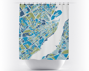 Quebec Map Shower Curtain - canada Shower Curtain - Chroma Series