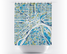 St Paul Map Shower Curtain - usa Shower Curtain - Chroma Series