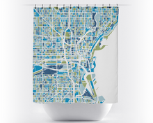 Milwaukee Map Shower Curtain - usa Shower Curtain - Chroma Series