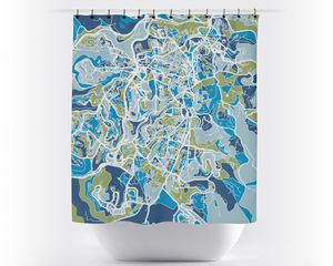 Jerusalem Map Shower Curtain - israel Shower Curtain - Chroma Series