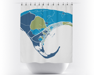 Provincetown Map Shower Curtain - usa Shower Curtain - Chroma Series