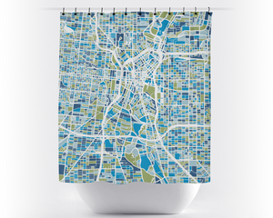 San Antonio Map Shower Curtain - usa Shower Curtain - Chroma Series