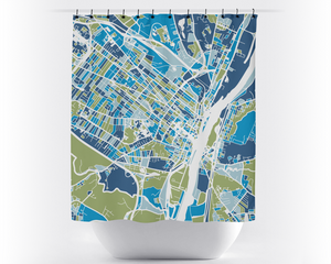 Albany Map Shower Curtain - usa Shower Curtain - Chroma Series