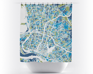 Oakland Map Shower Curtain - usa Shower Curtain - Chroma Series