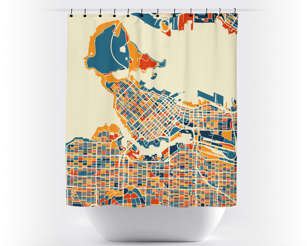 Vancouver Map Shower Curtain - canada Shower Curtain - Chroma Series ...
