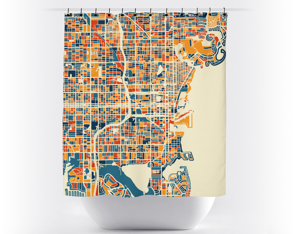 St Petersburg Map Shower Curtain - usa Shower Curtain - Chroma Series