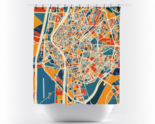 Sevilla Map Shower Curtain - spain Shower Curtain - Chroma Series