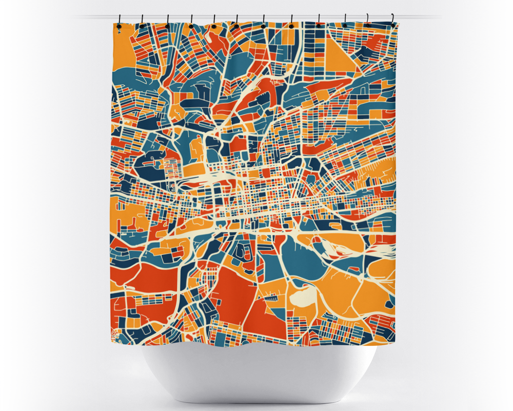 Johannesburg Map Shower Curtain - south africa Shower Curtain - Chroma Series