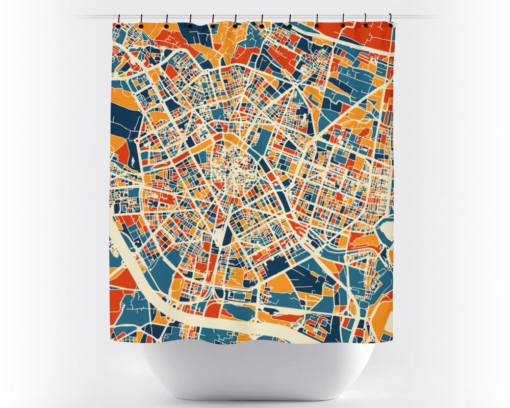 Valencia Map Shower Curtain - spain Shower Curtain - Chroma Series