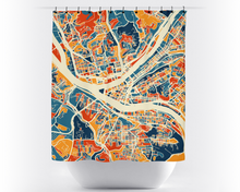 Pittsburgh Map Shower Curtain - usa Shower Curtain - Chroma Series