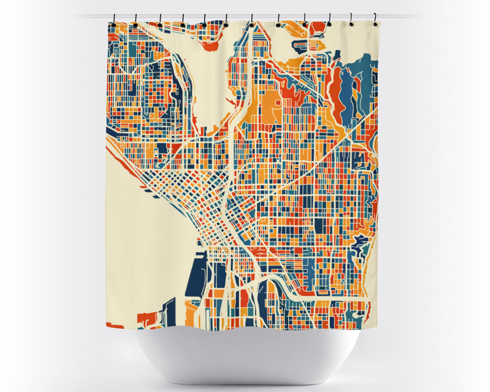 Seattle Map Shower Curtain Usa Shower Curtain Chroma Series