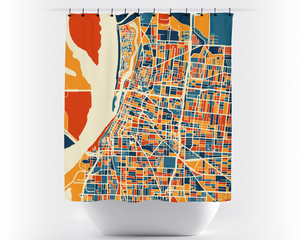 Memphis Map Shower Curtain - usa Shower Curtain - Chroma Series