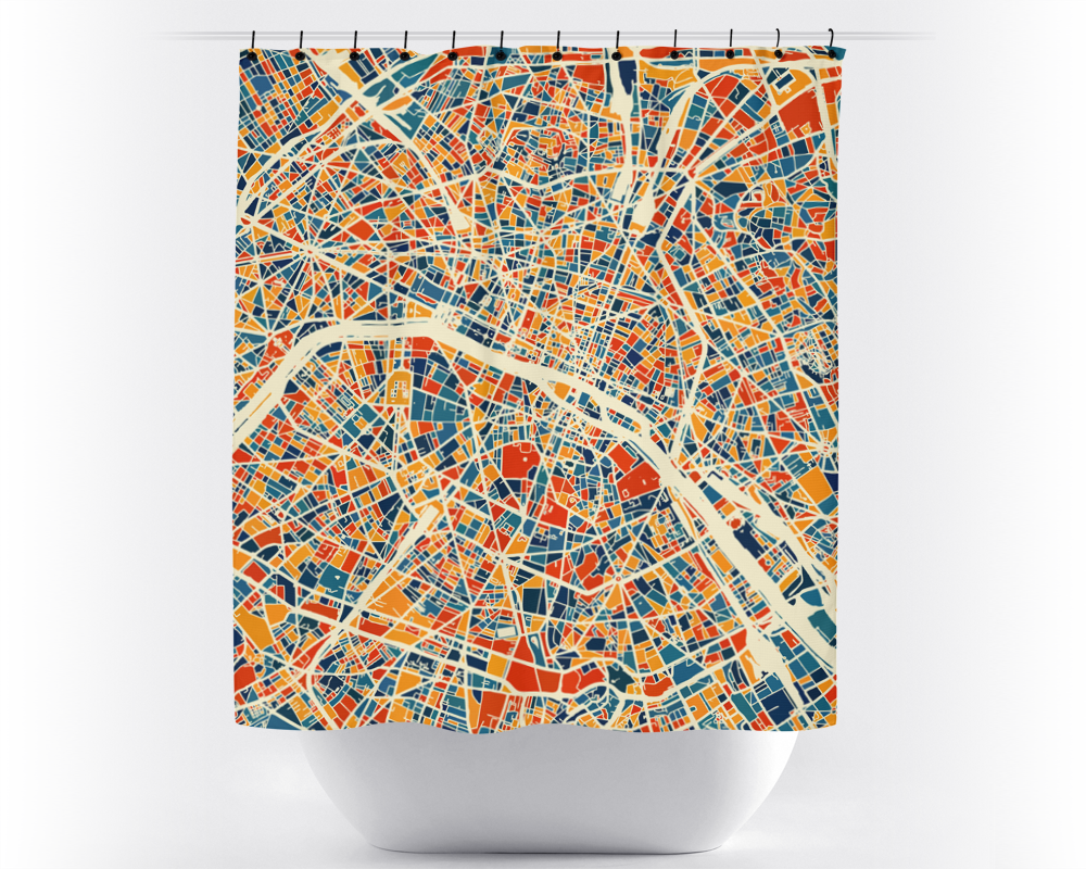 Paris Map Shower Curtain - france Shower Curtain - Chroma Series