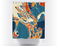 Bergen Map Shower Curtain - norway Shower Curtain - Chroma Series