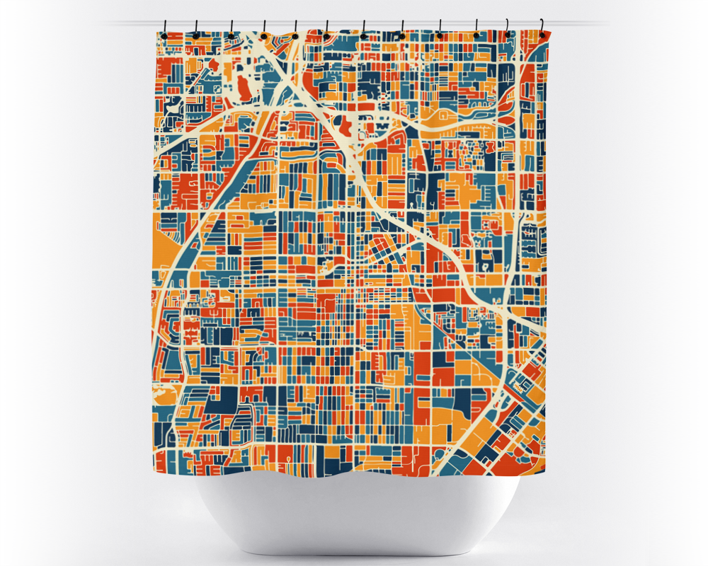 Santa Ana Map Shower Curtain - usa Shower Curtain - Chroma Series