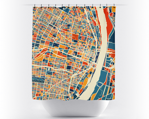 St Louis Map Shower Curtain - usa Shower Curtain - Chroma Series