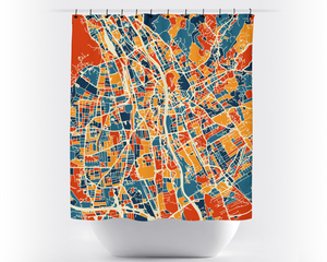 Graz Map Shower Curtain - austria Shower Curtain - Chroma Series