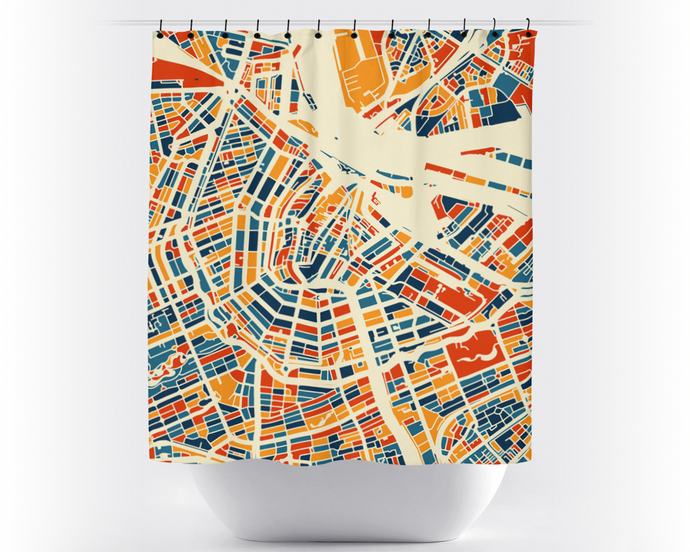 Amsterdam Map Shower Curtain - netherland Shower Curtain - Chroma Series