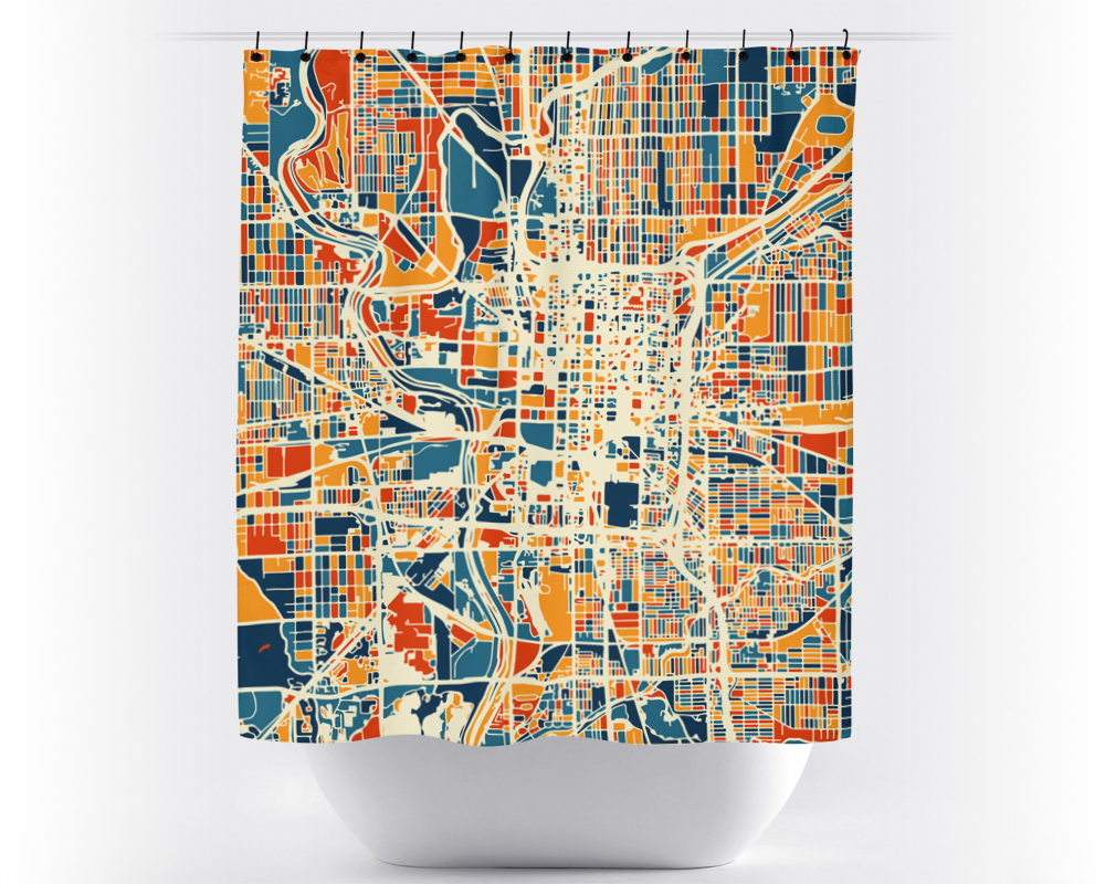 Indianapolis Map Shower Curtain - usa Shower Curtain - Chroma Series
