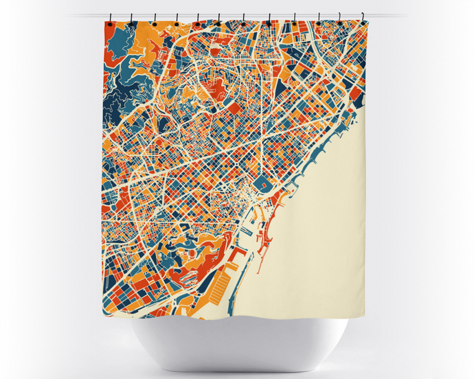 Barcelona Map Shower Curtain - spain Shower Curtain - Chroma Series