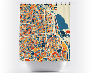 Buenos Aires Map Shower Curtain - argentina Shower Curtain - Chroma Series