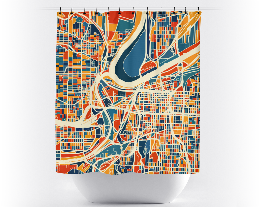 Kansas City Map Shower Curtain - usa Shower Curtain - Chroma Series