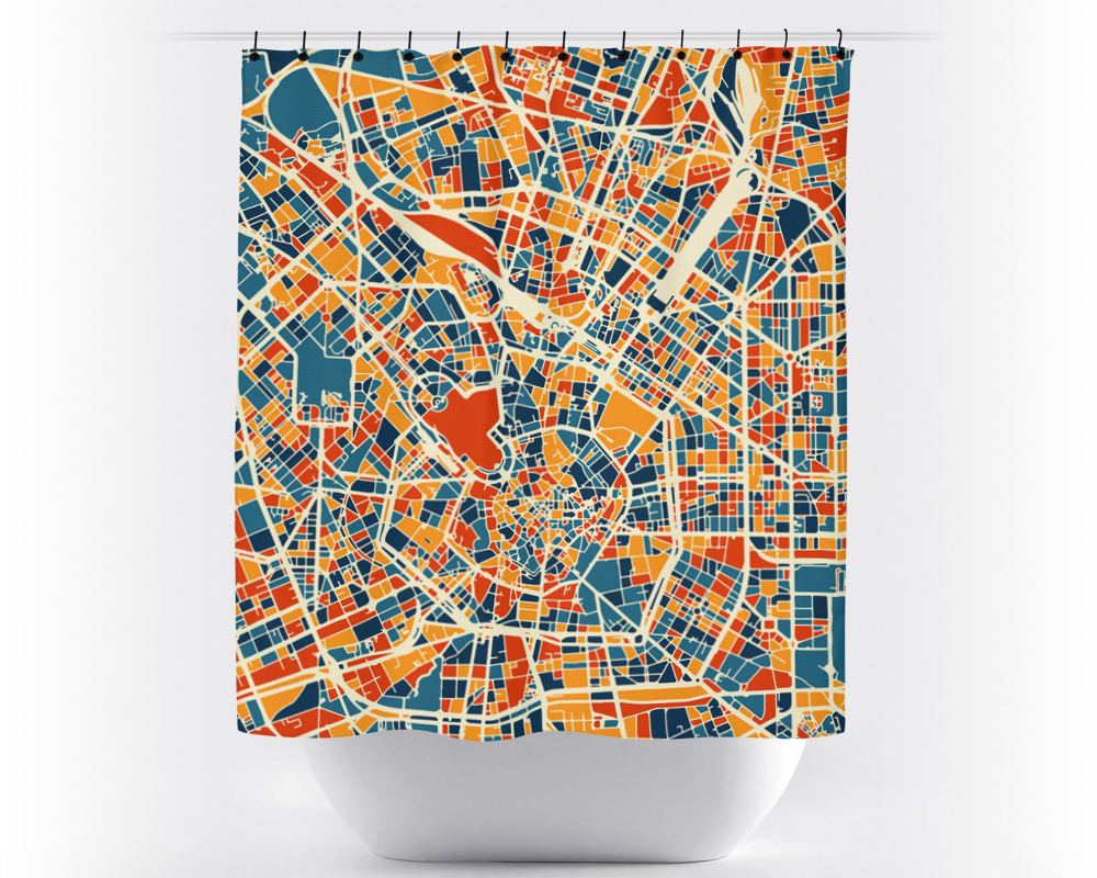 Milan Map Shower Curtain - italy Shower Curtain - Chroma Series