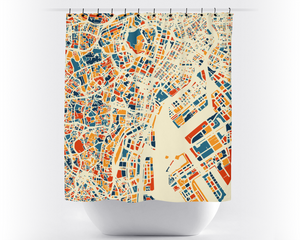Tokyo Map Shower Curtain - japan Shower Curtain - Chroma Series